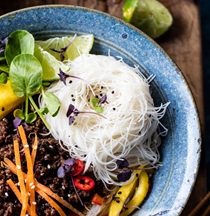 30 minute Asian basil beef and mango noodle salad