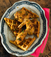 Adobo-fried chicken and waffles