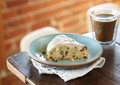 Almond oat scones with salted vanilla bean glaze
