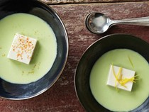 Andrea Nguyen's silken tofu and edamame soup (Cook the Book)