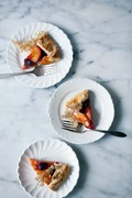 Apricots and raspberries in an oat crust