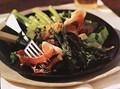 Asparagus and serrano ham salad with toasted almonds (Amanida amb epàrrec i pernil)