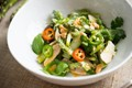 Asparagus and smoked chicken salad with ginger dressing