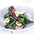 Asparagus, quail's egg and spring lettuce salad