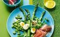 Asparagus, quail's eggs, broad beans and Parma ham with saffron mayonnaise