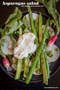 Asparagus salad with radishes, peas and fresh mint
