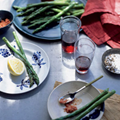Asparagus with almond and red pepper dressing