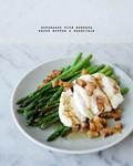 Asparagus with burrata + brown butter + guanciale