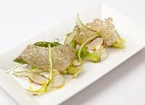 Asparagus with smoked cod brandade, radish, burnt butter