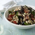 Aubergine and white bean salad