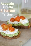 Avocado, burrata and tomato tartine