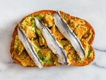 Avocado toast with boquerones and smoked paprika