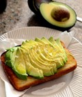 Avocado toast with olive oil and sea salt
