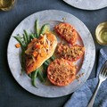Baked chicken breasts with Dijon-white wine sauce and haricots vert