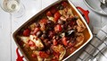 Baked chicken with tomato, sherry, fennel seeds, bay and olives