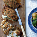 Baked, crumbed chicken with mozzarella, capers and thyme