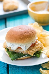Baked fish fillet sandwiches