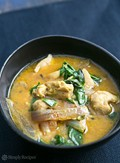 Basil chicken in coconut curry sauce