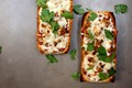 BBQ chicken and cilantro French bread pizza