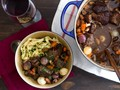 Beef stew with red wine, mushrooms, and bacon (Boeuf Bourguignon)