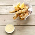 Beer-battered asparagus with lemon and gherkin aioli