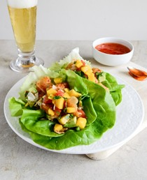 Beer battered shrimp lettuce wraps with mango avocado salsa