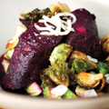 Beet boudin noir with Brussels sprouts & kohlrabi choucroute
