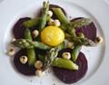 Beetroot, asparagus and egg yolk salad with hazelnut vinaigrette