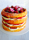 Berry and coconut cake with lemon curd cream