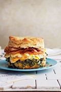 Biscuits with pancetta, collard greens, marbelized eggs, and espresso aïoli