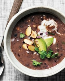 Black bean and almond soup