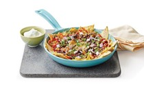 Black bean chilaquiles with chile verde