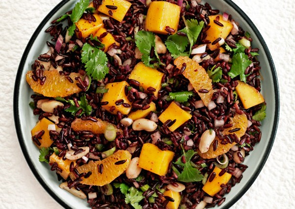 Black rice salad with mango and peanuts (page 105)