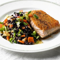 Black rice salad with snap peas, carrots, and almonds