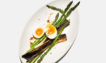 Blackened leeks with asparagus and boiled eggs