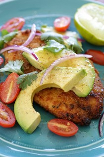 Breaded chicken cutlets with deconstructed guacamole