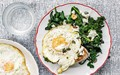Breakfast greens with eggs, feta and chilli
