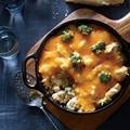 Broccoli-quinoa casserole with chicken and cheddar