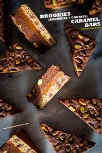 Brookies (brownies + cookies) salted caramel bars with pistachios