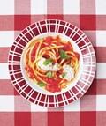 Bucatini with marinara and ricotta