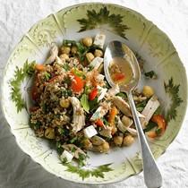 Bulgur salad with chickpeas, feta, and mint