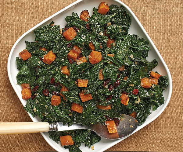 Butternut squash with kale, dried cranberries, hazelnuts, and candied ...
