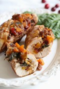 Butternut stuffed turkey tenderloin with cranberries and pecans