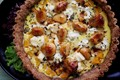 Caramelized garlic and butternut squash tart with almond crust
