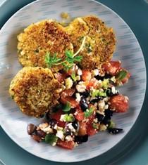 Cauliflower & quinoa patties with Mediterranean salad