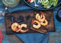 Cedar-planked shrimp with chipotle-pumpkin seed salsa