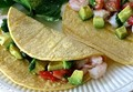 Ceviche-style shrimp and avocado tacos