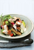 Char-grilled chicken, summer vegetables & croûtons with blue cheese dressing