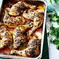 Chermoula chicken with potatoes and tomatoes