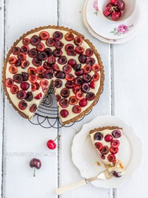 Cherry and vanilla white chocolate tart with a brown butter shell